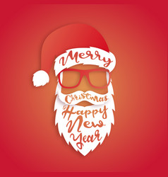 santa claus with lettering merry christmas vector image