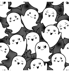 Seamless halloween kawaii cartoon pattern with vector image