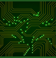 seamless pattern glowing circuit board neon vector image
