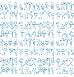 Seamless pattern tile cartoon with people doodles vector