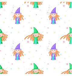 seamless pattern with cute little vector image