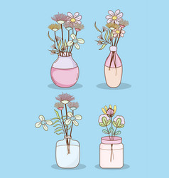 Set flowers in mason jars vector