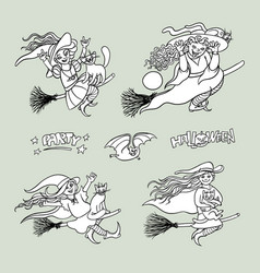 Set girls witches on broom with cats vector