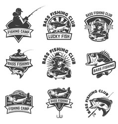 set of bass fishing emblem templates isolated on vector image