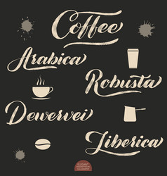 Set of coffee lettering hand drawn vector