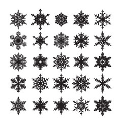 set snowflakes silhouette elements vector image