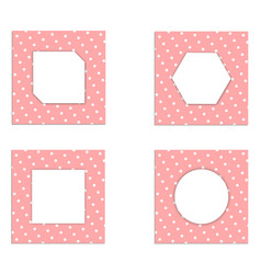 set template vintage card white paper on pink vector image