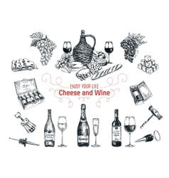 set vine and cheese elements vector image