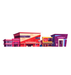 Shops and commercial buildings exterior vector