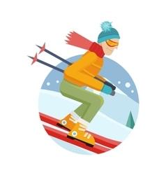 Skier on Slope in Flat Design vector