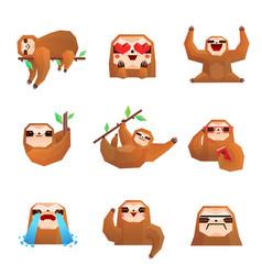 sloth polygonal set vector image