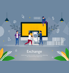 Small men taking money out computer exchange vector