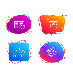 Special offer love book and delete user icons set vector