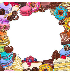 Square frame of desserts and pastries round place vector
