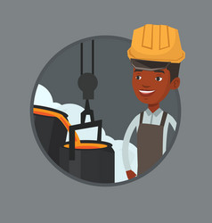 steelworker in hardhat at work in the foundry vector image