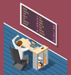 Stock exchange isometric background vector