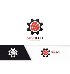 sushi and gear logo combination japanese vector image
