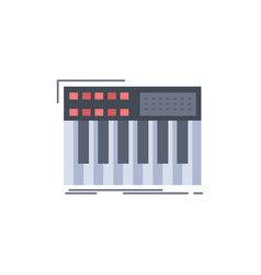 Synth keyboard midi synthesiser synthesizer flat vector