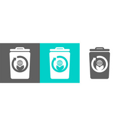 trash bin element with globe outline icon vector image