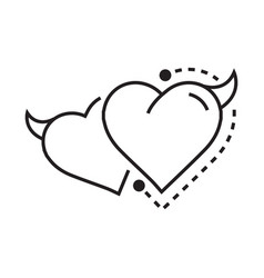 Twins line icon style heart devil vector