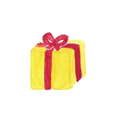 Vibrant gift box Watercolor object on the white vector image