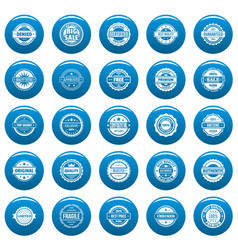 vintage badges and labels icons set blue vector image