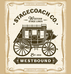 vintage western stagecoach label graphics vector image
