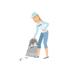 Volunteer Picking Up Garbage vector image