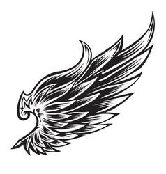 Wings bird black white 444 vector