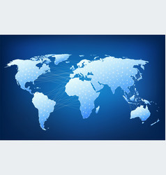 World map with nodes linked lines vector