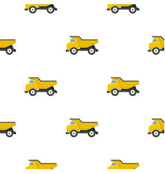 Yellow dump truck pattern flat vector