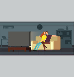 young couple watching tv on sofa in modern living vector image