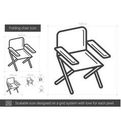 Folding chair line icon vector