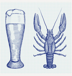 Lobster and glass of beer hand drawn sketch vector