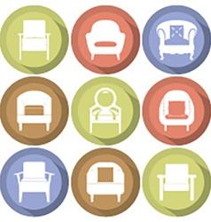 Sofas Icons Set Flat Design vector image