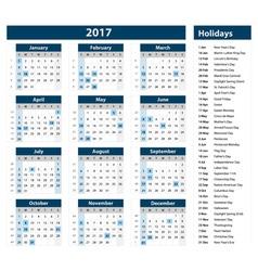 2017 Calendar - template of 2017 calendar vector image