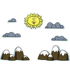 applique mountain scenery vector image vector image