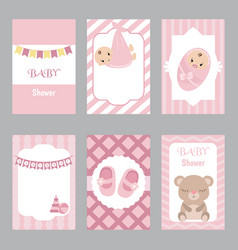 collection of cute baby girl card collection of vector image vector image