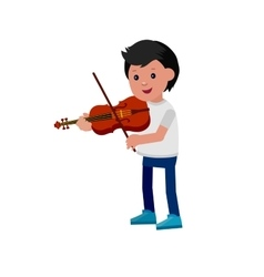 Happy kid playing on violin vector image