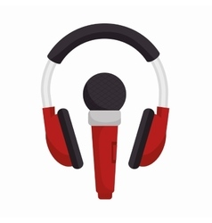 headphone with microphone sound design vector image