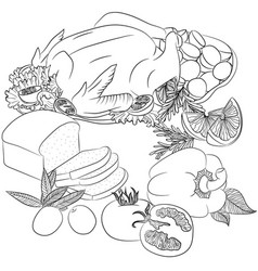 line art fried chicken and vegetables vector image