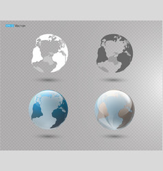 set of different globes vector image vector image