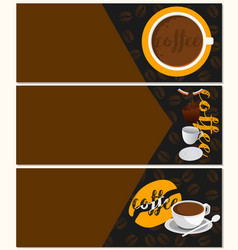 three banners coffee vector image vector image