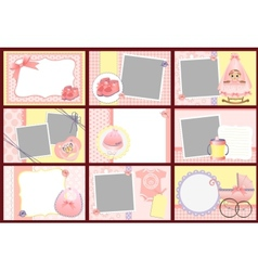 Cute templates for baby photo frames vector image