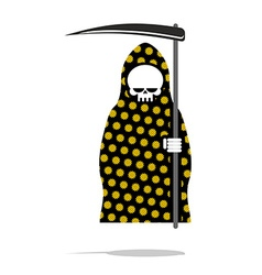 Death in black Pajamas with yellow flowers Grim vector image