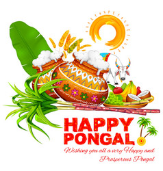 Happy Pongal greeting background vector image vector image