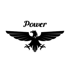 Heraldic black eagle or vulture icon vector