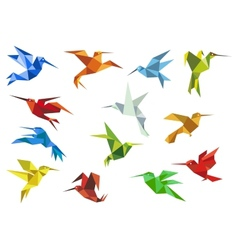 Abstract origami hummingbirds design elements vector image vector image