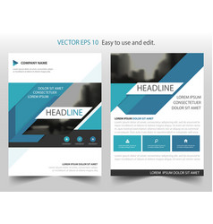 Blue abstract triangle annual report leaflet vector