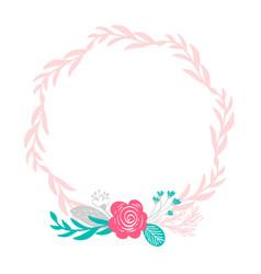 floral wreath bouquet flowers botanical elements vector image